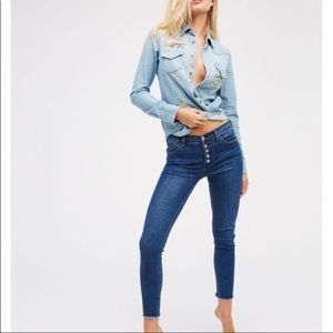 FP Exposed Button Fly Raw Hem Ankle Reagan Jeans